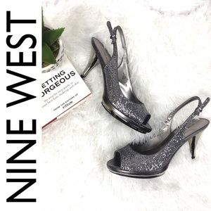 Nine West Shoes - Nine West Sharina Silver Open Slingback Heel 7.5
